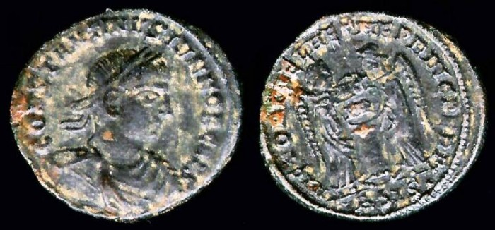 Ancient Coins - Constantine II Ae3 - LAETAE PRINC PERP - Siscia Mint