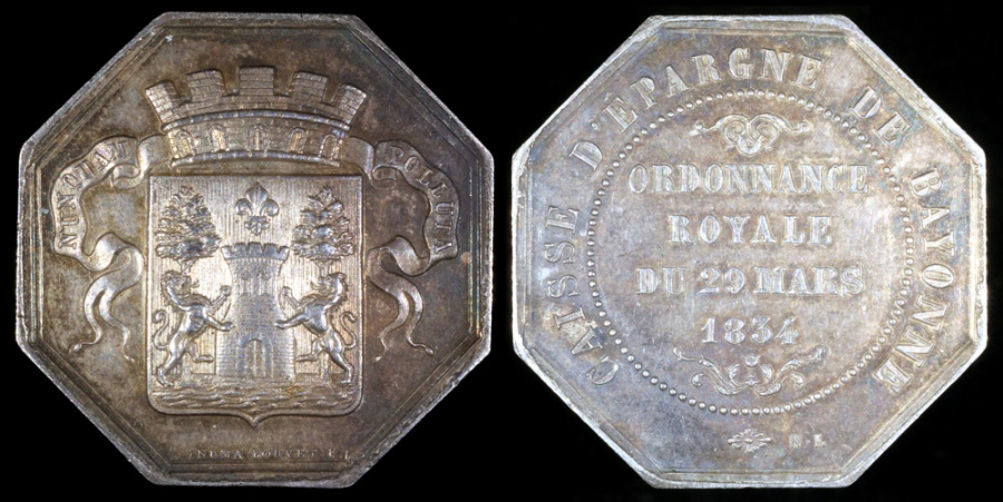 World Coins - 1834 France - Jeton - Creation by Royal Decree of the Bayonne Savings and Retirement Bank by Numa Louvet