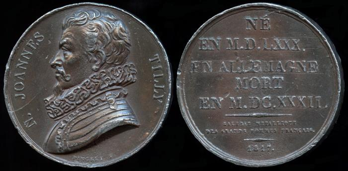 World Coins - 1817 France - Johann Tserclaes, Count of Tilly (Commanded the Catholic League's forces in the Thirty Years' War) by Joseph Arnold Pingret