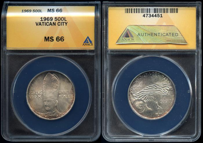 World Coins - 1969 Vatican City 500 Lire (Silver) – Pope Paul VI ANACS MS66