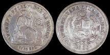 World Coins - 1866 YB Peru 1/5 Sol - 1866/5 Overdate - XF