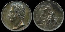 World Coins - 1823  France -  Admiral Louis Antoine Angoulême, Duc de Bourbon and the capture of Cadiz in 1823 by Jacques-Augustin Dieudonné