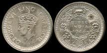 World Coins - 1944 B India (British) 1/2 Rupee AU