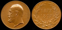 World Coins - 1897  Norway - Oscar II, Sweden and Norway's King Jubilee Medal by Johan Adolf Lindberg