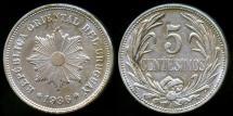 World Coins - 1936 A Uruguay 5 Centesimos UNC