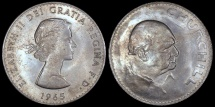 World Coins - 1965 Great Britain Crown - Elizabeth II - Churchill Commemorative - UNC