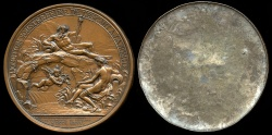 World Coins - 1785  France - Louis XVI - Subterranean junction of the Escaut and the Somme by Augustin Dupré - A cliché of the medal