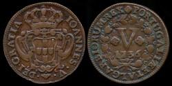 World Coins - 1736 Portugal 5 Reis - Joao V XF