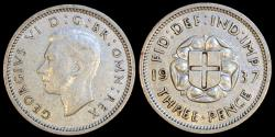 World Coins - 1937 Great Britain 3 Pence - George VI - AU