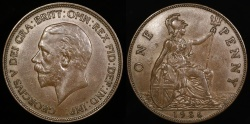 World Coins - 1936 Great Britain 1 Penny - George V - AU