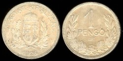 World Coins - 1926 BP Hungary 1 Pengo XF