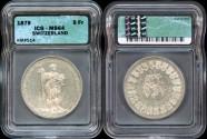 World Coins - 1879 Switzerland (Basel) 5 Franc Shooting Thaler ICG MS64