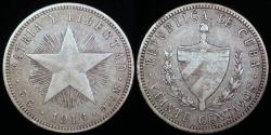 "World Coins - 1916 Cuba 20 Centavos ""Low Relief Star"" XF"