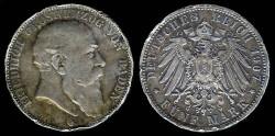 World Coins - 1907 G Baden 5 Mark XF