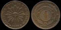 World Coins - 1869 H Uruguay 1 Centesimo AU