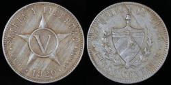 World Coins - 1920 Cuba 5 Centavo - 1st Republic - AU