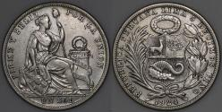 World Coins - 1924 Peru 1 Sol - Struck at Philadelphia Mint - XF