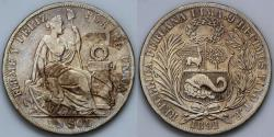 World Coins - 1891 TF Peru 1 Sol XF