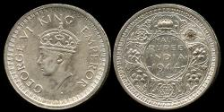 World Coins - 1944 B India (British) 1/2 Rupee AU