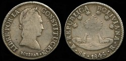 World Coins - 1845 PTS-R Bolivia 8 Soles VF