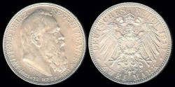 World Coins - 1911 D Bavaria (German States) 2 Mark BU