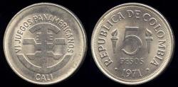 World Coins - 1971 Colombia 5 Peso (Pan-American Games Commemorative) BU