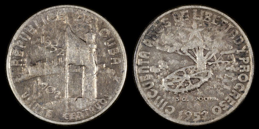 "World Coins - 1952 Cuba 20 Centavos ""50th Year of the Republic"" Silver Commemorative XF"