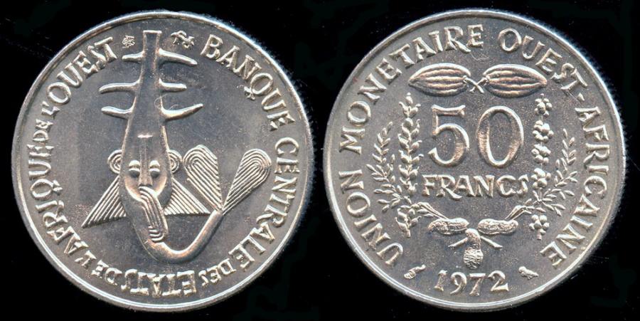 "World Coins - 1972 West Africa 50 Franc - FAO ""Beans & Grains"" - BU"