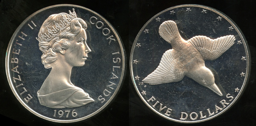 World Coins - 1976 FM Cook Islands 5 Dollars Silver Commemorative - Wildlife Conservation - Mangara Kingfisher - Cameo Proof
