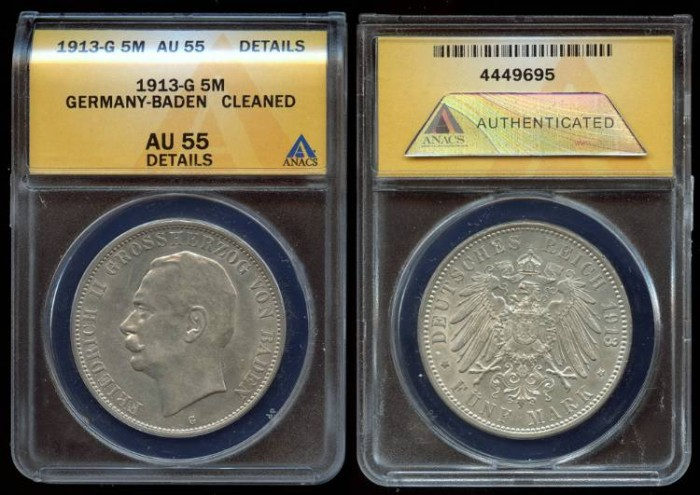 World Coins - 1913 G Baden (German States) 5 Marks ANACS AU55