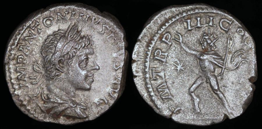Ancient Coins - Elagabalus Denarius - P M TR P III COS P P - Rome Mint