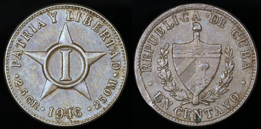 World Coins - 1946 Cuba 1 Centavo - 1st Republic - AU
