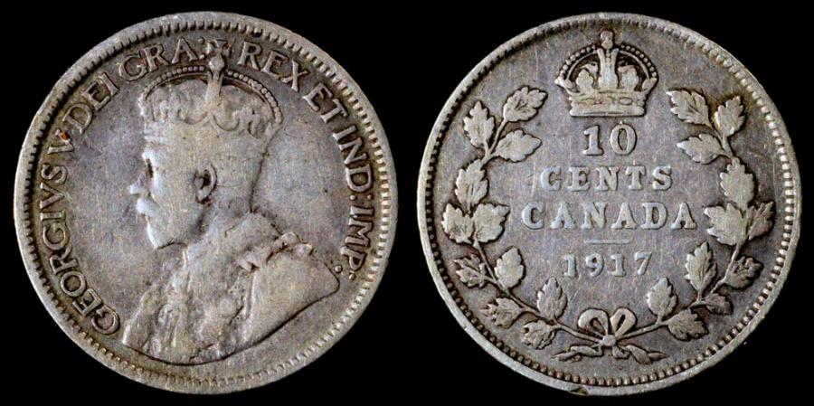 1917 Canada 10 Cent F