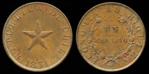World Coins - 1851 Chile 1 Centavo (Raised Star) BU