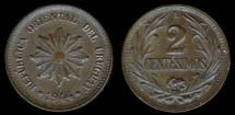 World Coins - 1944 So Uruguay 2 Centesimo UNC