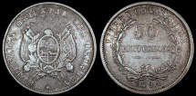 World Coins - 1894 Uruguay 50 Centesimos - Republic Coinage - XF