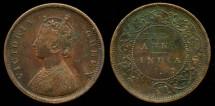 World Coins - 1862 India (British) 1/2 Anna XF