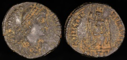 Ancient Coins - Theodosius I Ae3 - CONCORDIA AVGGG - Antioch Mint