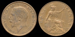 World Coins - 1921 Great Britain 1/2 Penny AU