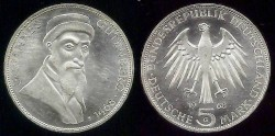 World Coins - 1968 G Federal Republic (Germany) 5 Mark Commemorative BU