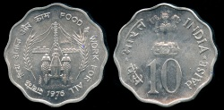 "World Coins - 1976 (b) India 10 Paise - FAO ""Food & Work"" BU"