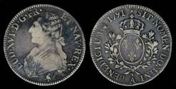 World Coins - 1791 A France Ecu - Luis XVI - Paris Mint -VF
