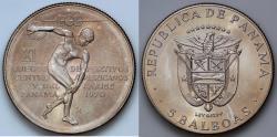 World Coins - 1970 Panama 5 Balboas - 11th Central American and Caribbean Games - BU Silver