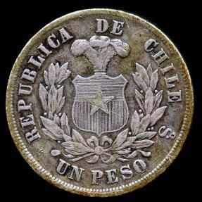 World Coins - 1877 Chile 1 Peso VF