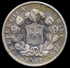 World Coins - 1855 Chile 50 Centavos VF