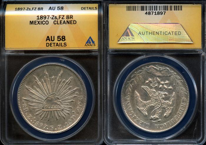 1897 ZsFZ Mexico (Zacatecas Mint) 8 Reales ANACS AU58