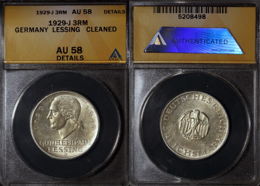 "World Coins - 1929 J Weimar Republic 3 Reichsmark ""200th Anniversary - Birth of Gotthold Lessing Commemorative Silver"" ANACS AU58"