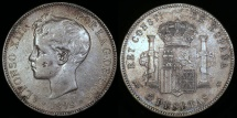 World Coins - 1898 (98) SG-V Spain 5 Pesetas - Alfonso XIII - AU