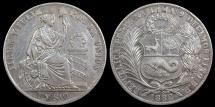 World Coins - 1882 BF Peru 1 Sol XF