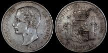 1876 (76) DE-M Spain 5 Pesetas - Alfonso XII - XF